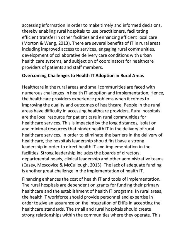health it in rural communities essay