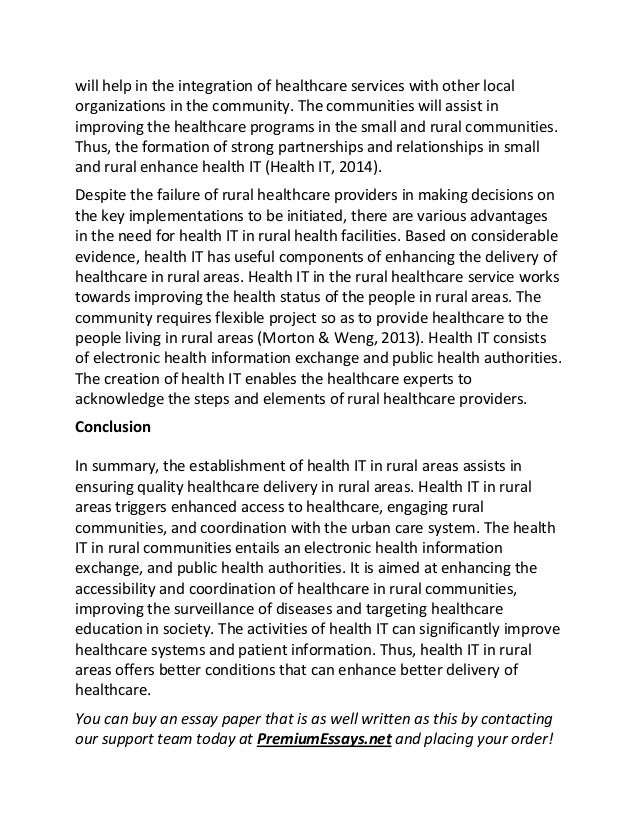 Health Needs Assessment Essay This  Will  The Importance Of Learning English Essay also Computer Science Essays Health It In Rural Communities Essay Essay On My Mother In English