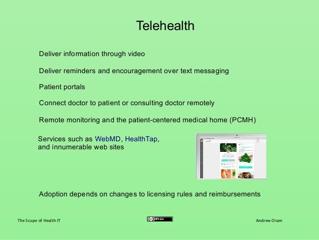 scope and challenges of telemedicine Telehealth/telemedicine product and service directory   and scope of the  unmet need, provide a sound foundation for planning, help you  colleagues,  and learn firsthand about their lives, patients, local opportunities, challenges and.