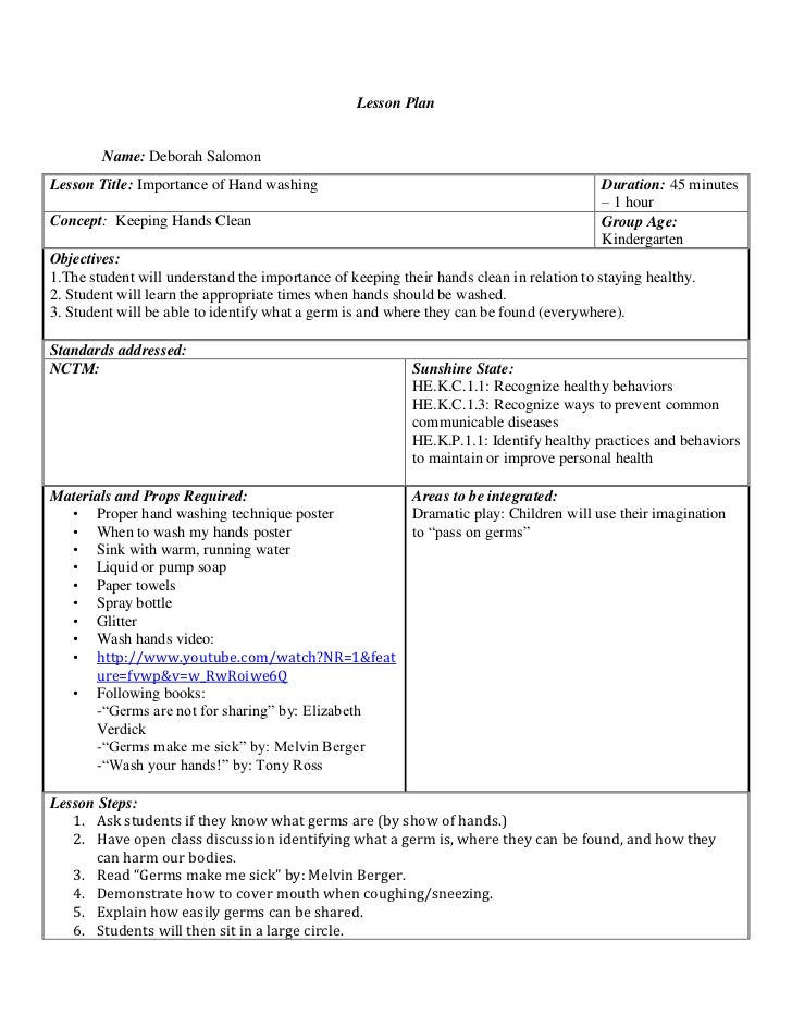 Health Lessonplan - Health lesson plan template