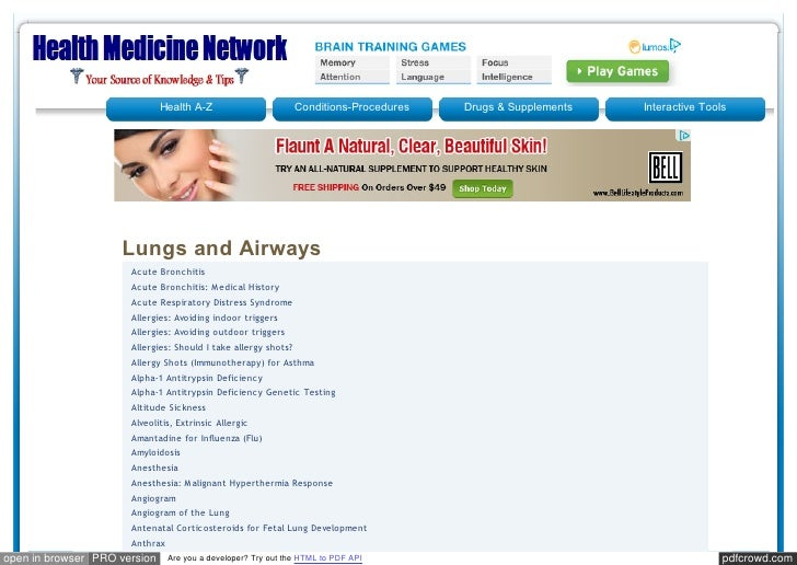Health A-Z                        Conditions-Procedures   Drugs & Supplements   Interactive Tools                    Lungs...
