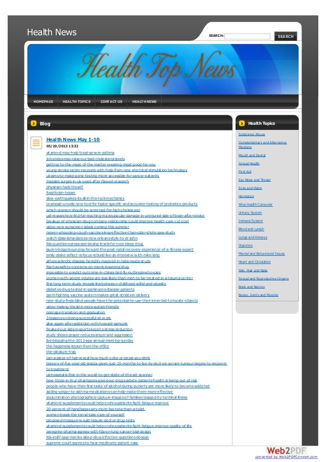 Health NewsHOMEPAGE HEALTH TOPICS CONTACT US HEALTH NEWSBlogHealth News May 1-1005/20/2013 13:32vitamin-d-may-help-treat-s...