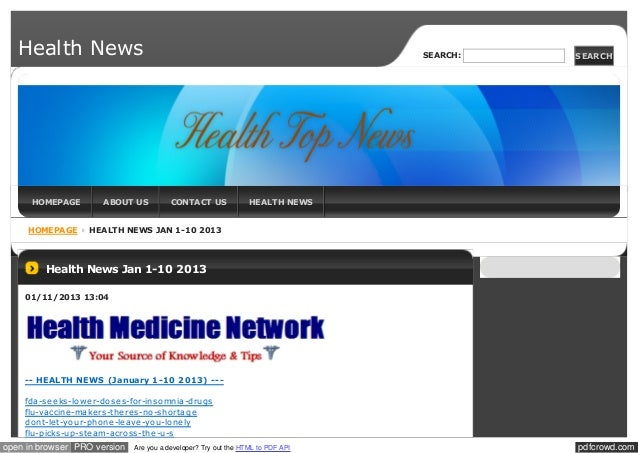 Health News                                                                   SEARCH:   SEARCH      HOMEPAGE        ABOUT ...
