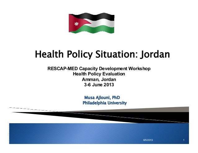 6/5/2013 1 Health Policy Situation: Jordan Musa Ajlouni, PhD Philadelphia University RESCAP-MED Capacity Development Works...