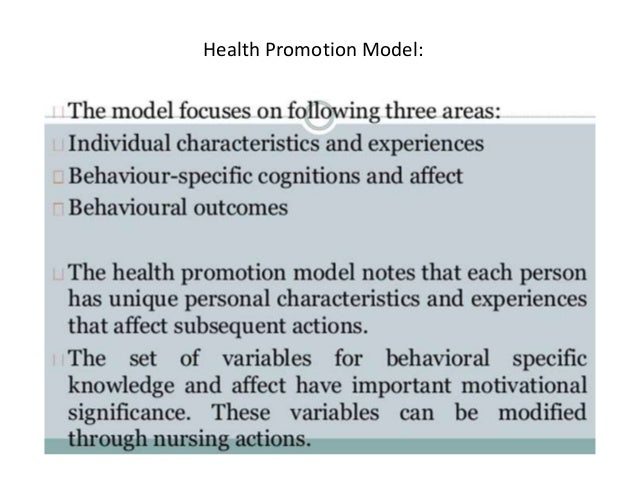 beattie model of health promotion Compare and contrast nursing and non-nursing health promotion theories  as  we explore theories of health promotion, we will look at models that contain.