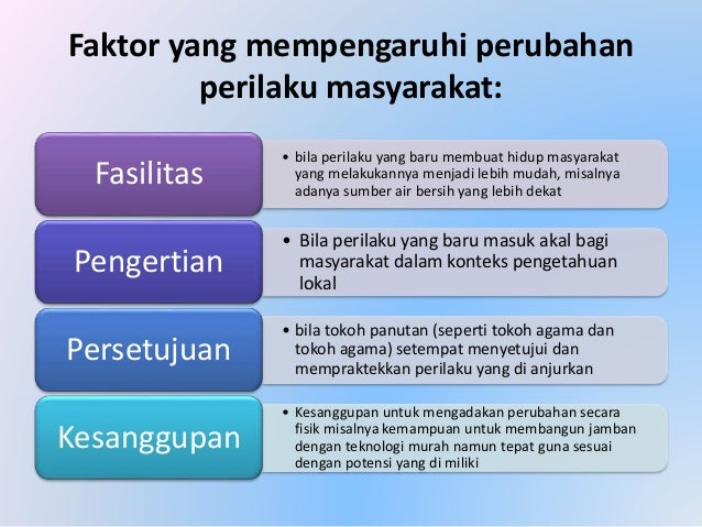 Faktor yang mempengaruhi perubahan perilaku masyarakat: • bila perilaku yang baru membuat hidup masyarakat yang melakukann...