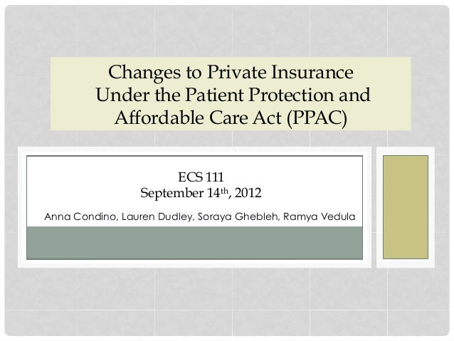 Changes to Private Insurance Under the Patient Protection and Affordable Care Act (PPAC) Anna Condino, Lauren Dudley, Sora...
