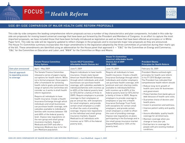 on                                             Health Reform   This side-by-side compares the leading comprehensive reform...