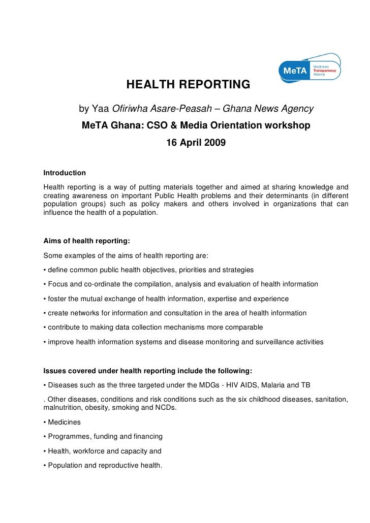 HEALTH REPORTING            by Yaa Ofiriwha Asare-Peasah – Ghana News Agency               MeTA Ghana: CSO & Media Orienta...