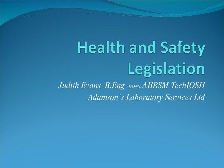 Judith Evans  B.Eng  (HONS)  AIIRSM TechIOSH Adamson's Laboratory Services Ltd