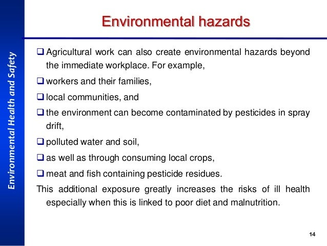 Health, safety and environmental hazards in Agriculture Sector