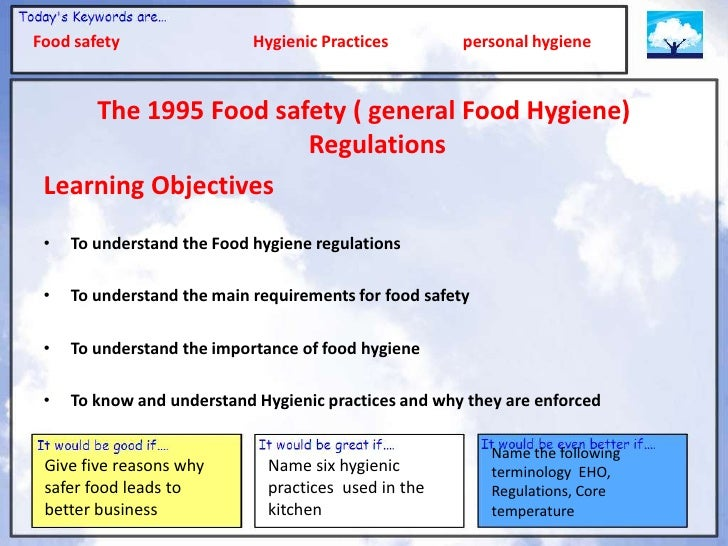Sanitation and hygiene in the food