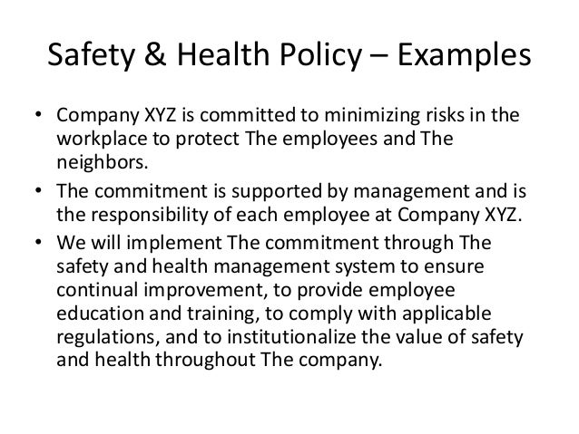 Safety Health Policy Examples