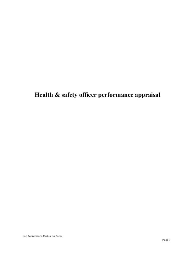 Health & safety officer performance appraisal Job Performance Evaluation Form Page 1