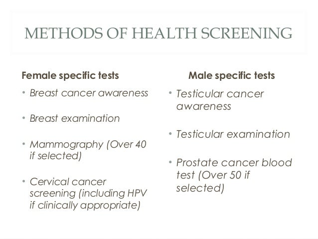 Health Screening And Health Of The Nation 2015