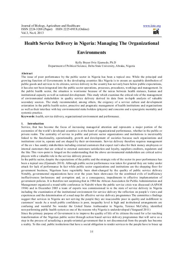 Journal of Biology, Agriculture and HealthcareISSN 2224-3208 (Paper) ISSN 2225Vol.3, No.4, 2013Health Service DeliveryDepa...