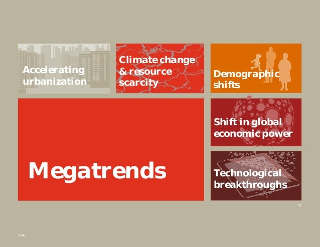 PwC 13 Megatrends Accelerating urbanization Climate change & resource scarcity Demographic shifts Shift in global economic...