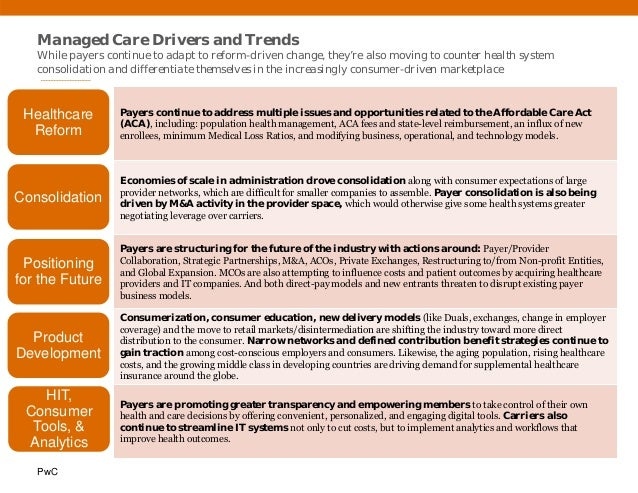 PwC Managed Care Drivers and Trends While payers continue to adapt to reform-driven change, they're also moving to counter...