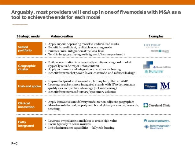 PwC Arguably, most providers will end up in one of five models with M&A as a tool to achieve the ends for each model Strat...