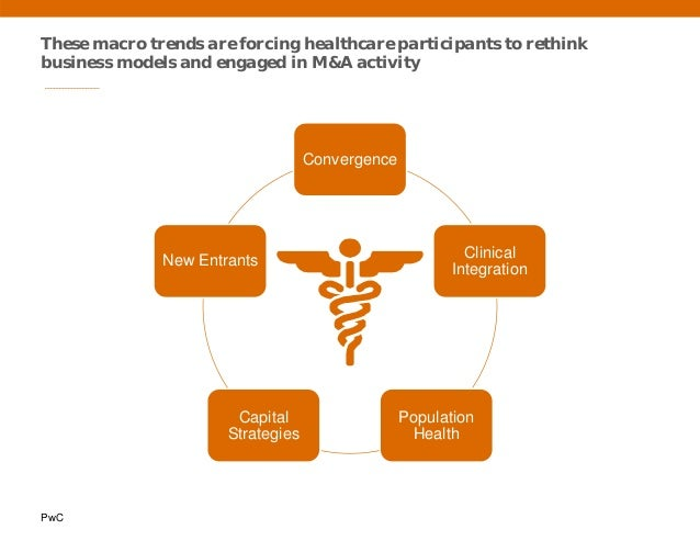 PwC These macro trends are forcing healthcare participants to rethink business models and engaged in M&A activity Converge...