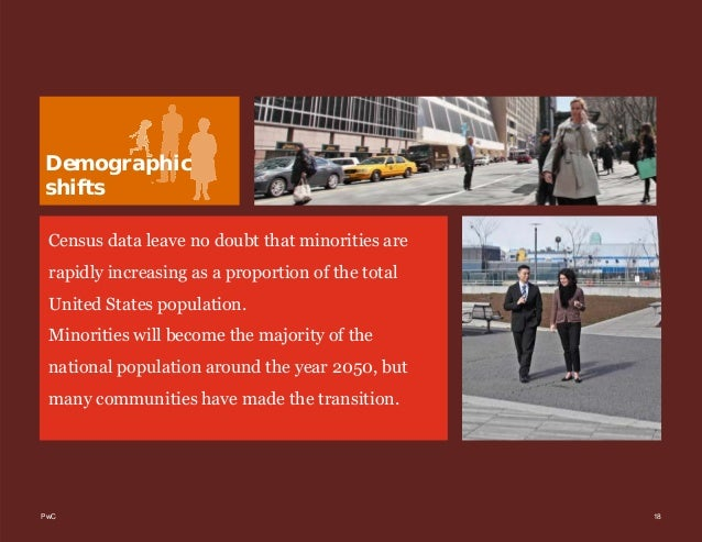 PwC 18 Demographic shifts Census data leave no doubt that minorities are rapidly increasing as a proportion of the total U...