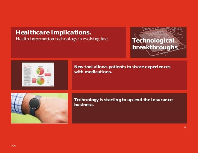 PwC Technological breakthroughs Healthcare Implications. Health information technology is evolving fast 24 Technology is s...