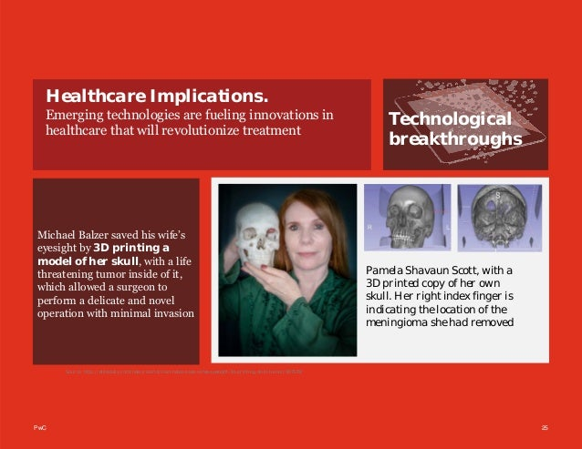 PwC 25 Technological breakthroughs Healthcare Implications. Emerging technologies are fueling innovations in healthcare th...