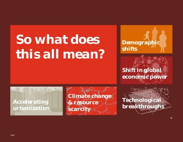PwC 26 So what does this all mean? Accelerating urbanization Climate change & resource scarcity Demographic shifts Shift i...