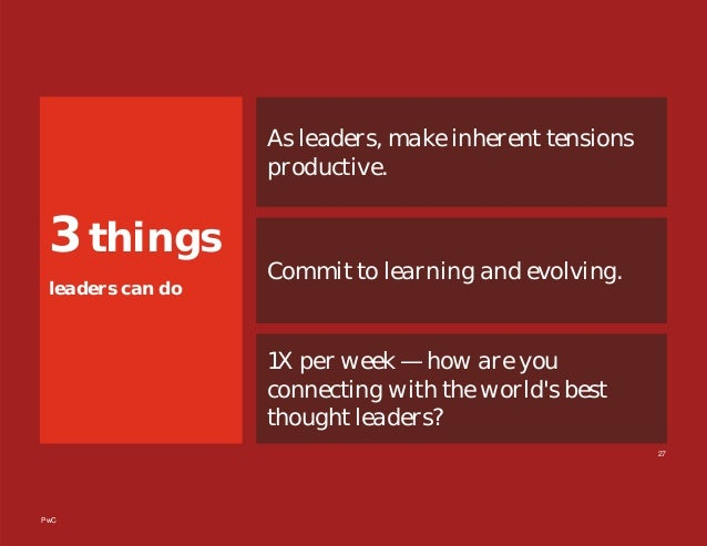 PwC 3 things leaders can do As leaders, make inherent tensions productive. Commit to learning and evolving. 1X per week — ...