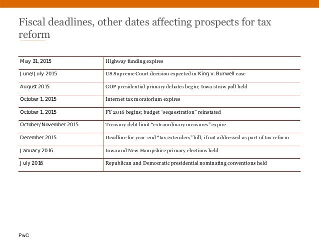 PwC Fiscal deadlines, other dates affecting prospects for tax reform May 31, 2015 Highway funding expires June/July 2015 U...