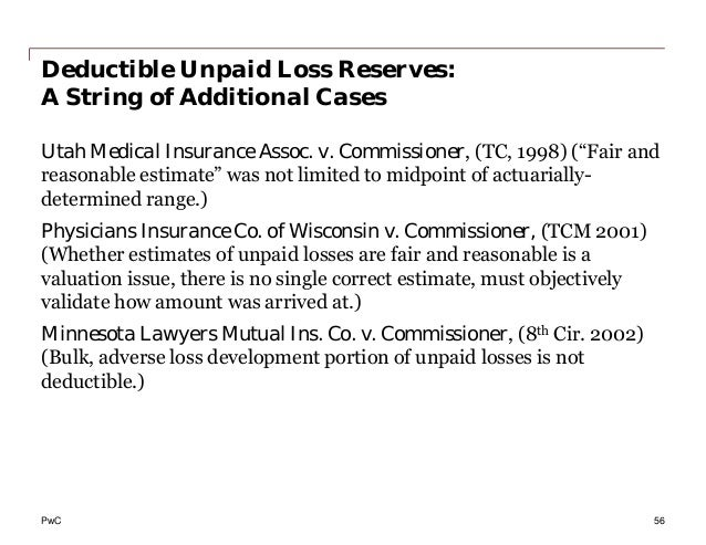PwC Deductible Unpaid Loss Reserves: A String of Additional Cases Utah Medical Insurance Assoc. v. Commissioner, (TC, 1998...