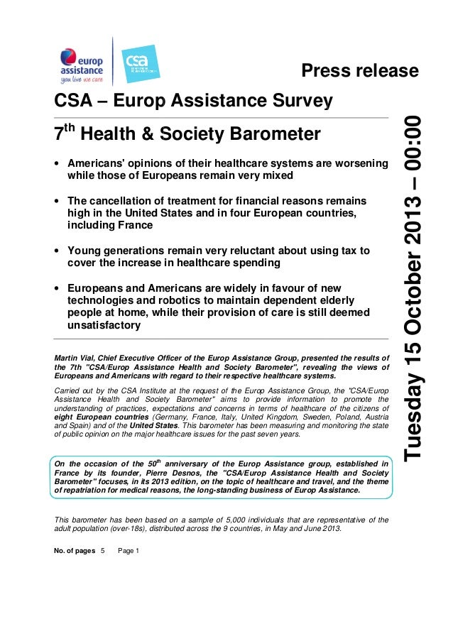 Press release 7th Health & Society Barometer • Americans' opinions of their healthcare systems are worsening while those o...