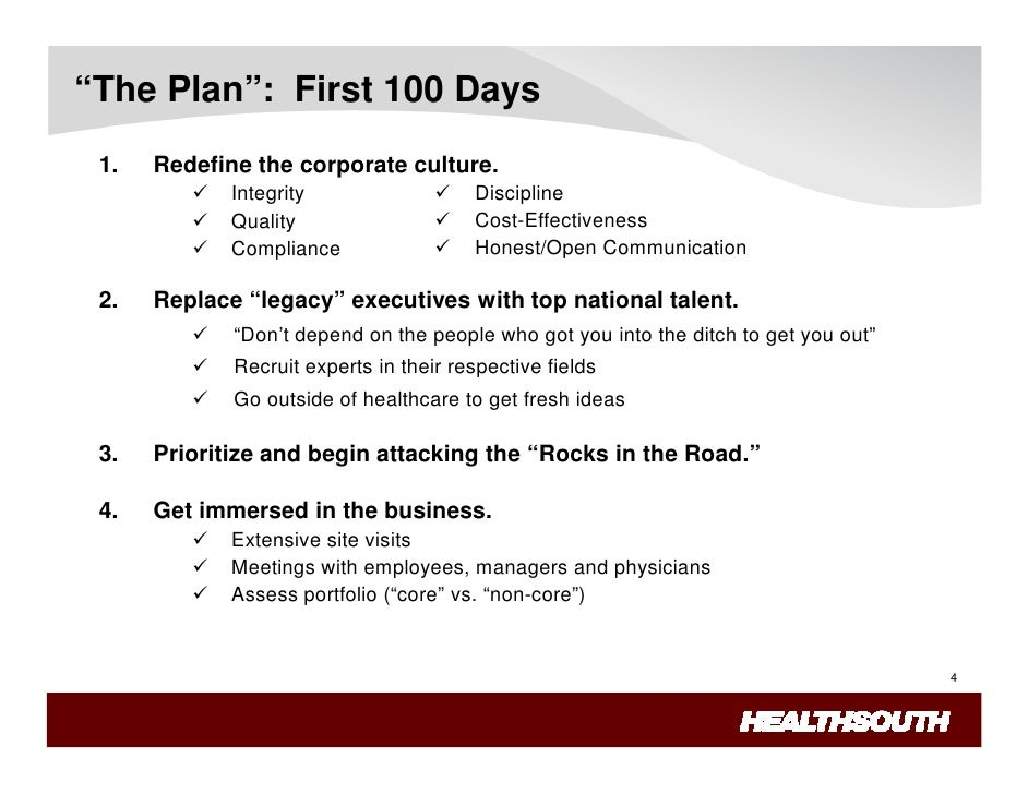 Healthsouth lessons learned for First 100 days plan template