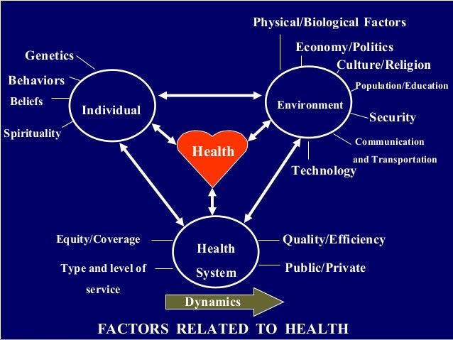 Health Individual Environment Health System Genetics Behaviors Beliefs Spirituality Physical/Biological Factors Culture/Re...