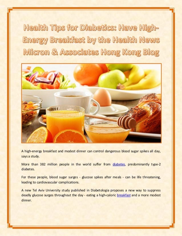 Health Tips for Diabetics: Have High-Energy Breakfast by the Health N…