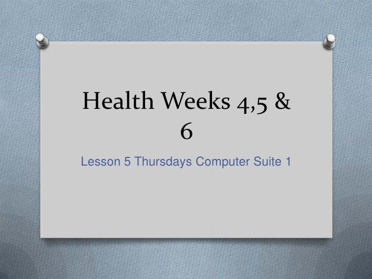 Health Weeks 4,5 & 6<br />Lesson 5 Thursdays Computer Suite 1<br />