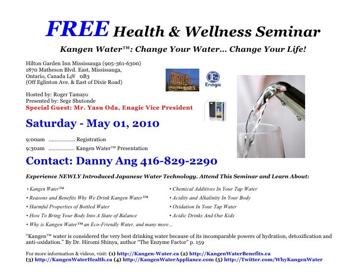 Free health wellness seminar invitation for saturday may 01 2010 free health wellness seminar kangen water change stopboris Gallery