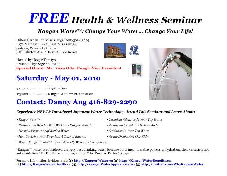 Free health wellness seminar invitation for saturday may 01 2010 free health wellness seminar kangen water change stopboris Image collections