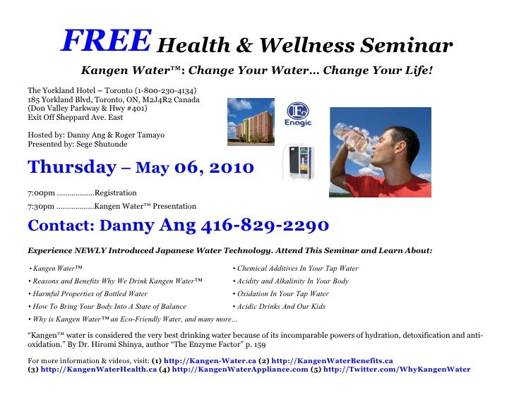 Free health wellness seminar invitation for thursday may 06 2010 free health wellness seminar kangen water change stopboris Gallery