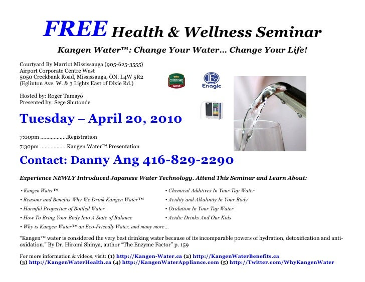 Free health wellness seminar invitation for tuesday april 20 2010 free health wellness seminar kangen water change stopboris Images