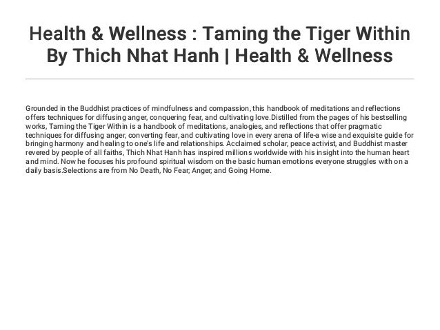 Health Wellness Taming The Tiger Within By Thich Nhat Hanh Heal