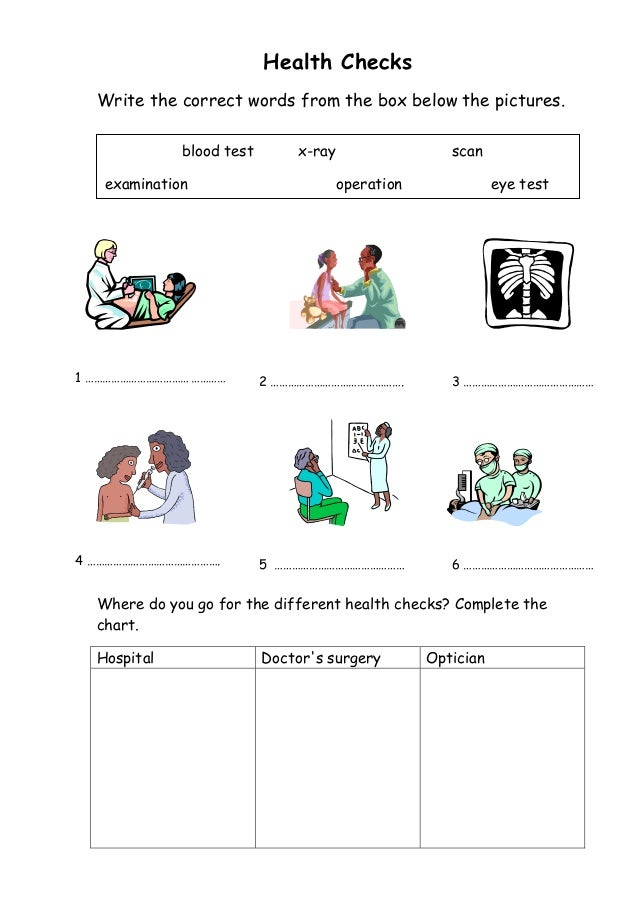 Health worksheets – Health Worksheet