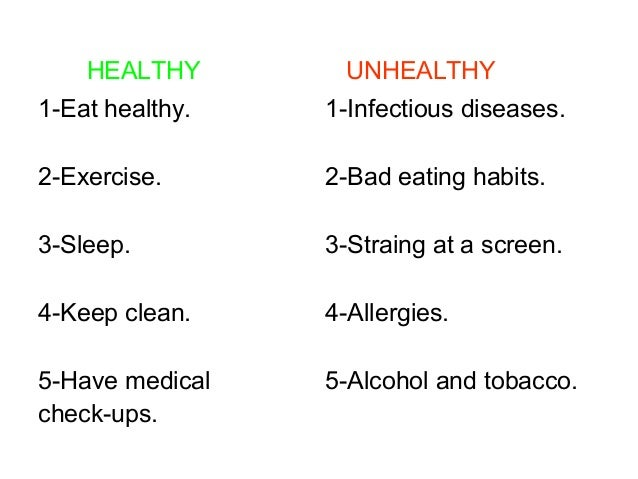 healthy and unhealthy habits ppt luc a