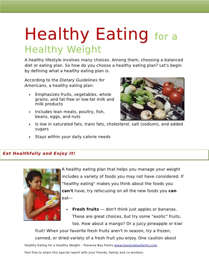 Healthy Eating                                                                     for a         Healthy Weight         A ...