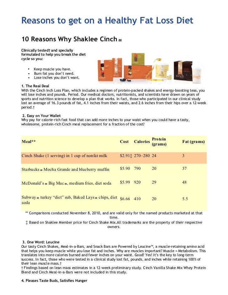 Reasons to get on a Healthy Fat Loss Diet10 Reasons Why Shaklee Cinch ᆴClinically tested† and speciallyformulated to help ...