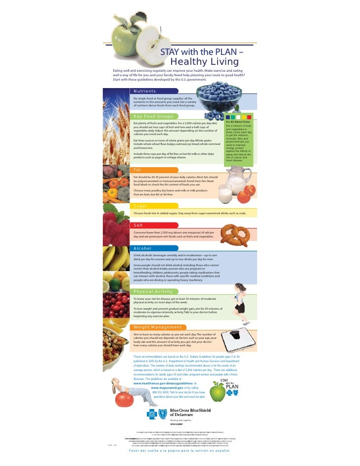 STAY with the PLAN –                                                    Healthy Living    Eating well and exercising regul...