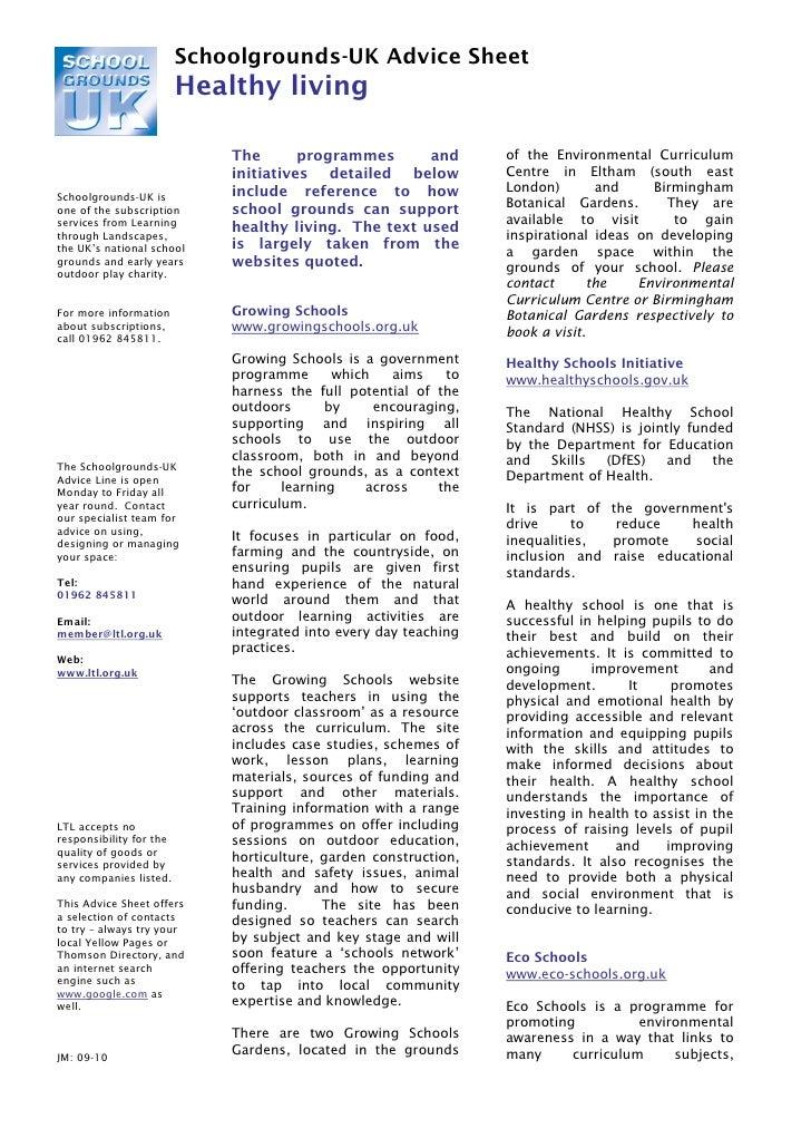 Schoolgrounds-UK Advice Sheet                         Healthy living                             The       programmes     ...