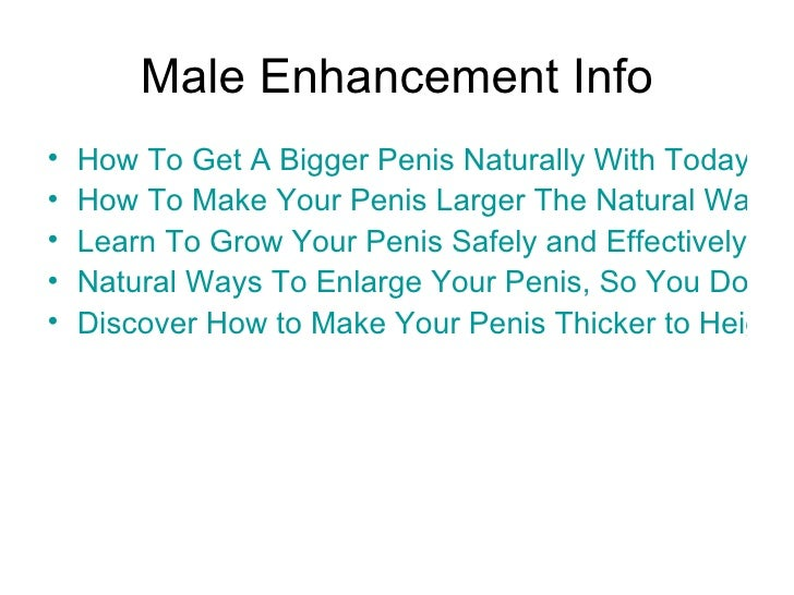 Natural Ways To Make Penis Thicker
