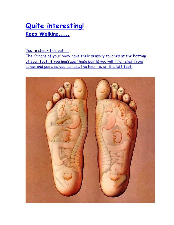Quite interesting! Keep Walking.....   Jus to check this out...... The Organs of your body have their sensory touches at t...