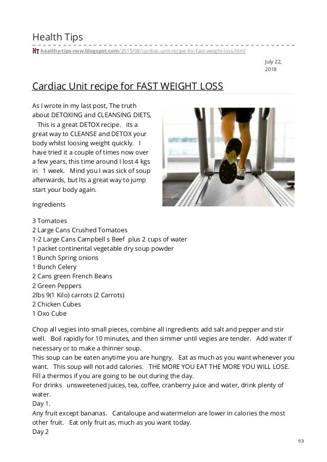 cardiac unit diet for fast weight loss